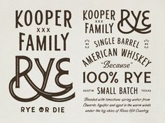 Early lettering explorations for a local rye whiskey brand. Kudos to Simon Walker