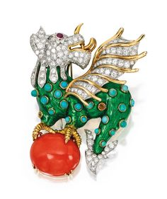 18 Karat Gold, Platinum, Colored Stone and Diamond 'Basilisk' Brooch, Donald Claflin for Tiffany & Co., Circa 1970 – Sotheby's Insect Jewelry, Animal Jewelry, Antique Jewelry, Vintage Jewelry, Vintage Clothing, Dragon Jewelry, Diamond Dogs, Diamond Brooch, Royal Jewels