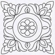 "Heavenly Hills Fabrics - Shop | Category: Stencils | Product: Quilt Stencil Floral Block - 11"" (1024)"