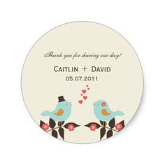 Love Birds Wedding Favor Stickers/Envelope Seals Stickers