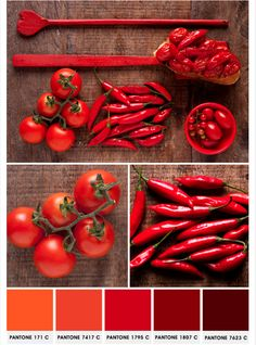 Food and Pantone: red palette Red Colour Palette, Colour Schemes, Color Combos, Red Color, Food Design, E Design, Design Seeds, Colour Board, Stuffed Hot Peppers