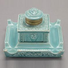 German Turquoise Faience Inkwell