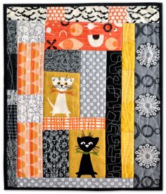 SF Giants Halloween Christmas-ish teenie quilt by Happy Zombie, via Flickr - love the Tammis Keefe kitties - I have some of that fabric.