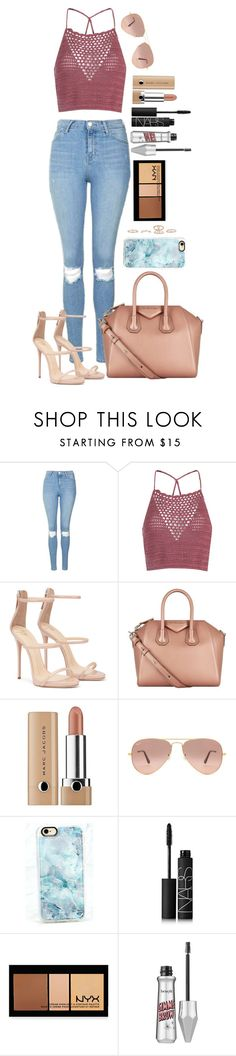 """Untitled #1545"" by fabianarveloc on Polyvore featuring Topshop, Glamorous, Givenchy, Marc Jacobs, Ray-Ban, Casetify, NARS Cosmetics, NYX, Benefit and New Look"