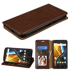Motorola Moto G4 Case, G4 Plus Case, JoJoGoldStar Bicast PU Leather Folio Wallet with Card Slots and Kickstand, Comes with Stylus Pen and Screen Protector – Brown