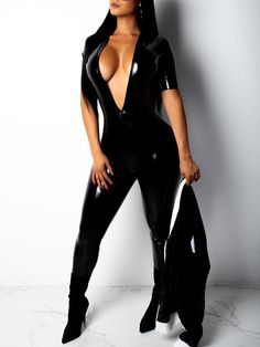 New Black Bodycon Deep V-neck Latex Vinly Patent Rubber Party Long Jumpsuit Mode Outfits, Sexy Outfits, Fashion Outfits, Sexy Latex, Trend Fashion, Look Fashion, Fashion Styles, Long Jumpsuits, Jumpsuits For Women