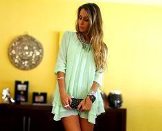 mint dress by Vanessa Vasconcelos