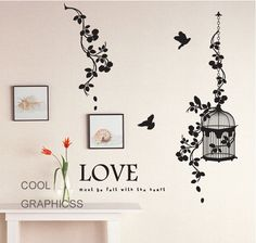 Beautiful Branches and birds cage  -Vinyl Wall Decal Sticker Art. $32.00, via Etsy.