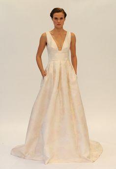 Deep V-neck Subtle Floral Print Wedding Dress   Lela Rose Fall 2014   Kurt Wildering/The Knot   The Knot Blog