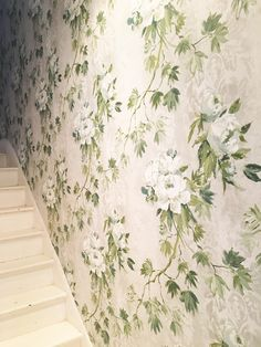 Soft delicate florals trailing up your staircase for a subtle impact, with our Floreale wallpaper Wallpaper, Designers Guild Wallpaper, White Peonies, Textures Patterns, Dream Wall, Designers Guild, Mural, Soft Floral, Mural Wallpaper