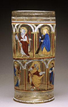 Apostles Beaker and Cover (Apostelhumpen) Germany, circa 1600-1650 Furnishings; Serviceware Glass, enamel, gilt
