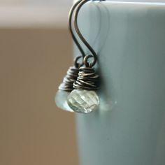 Pond  Green Amethyst Wire Wrap Earrings by redpoppycompany on Etsy