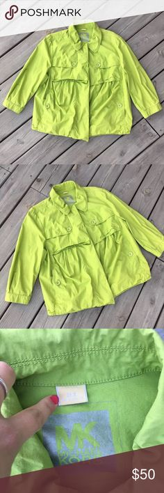 "MK Michael Kors Lime Green Light Jacket Buttons 2X Great pre owned condition - no flaws. Perfect for this spring weather.   Bust across 26""  Length 26.5""  Color is most similar to the 3rd picture, my camera had a hard time focusing it in all the pictures. Happy poshing! Michael Kors Jackets & Coats Pea Coats"