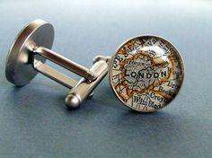 London Map  Cufflinks Sterling Silver  Vintage by sherrytruitt, $50.00