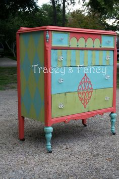 Custom Painted Dresser/Chest of Drawers MADE TO ORDER. $750.00, via Etsy.