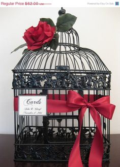 Gorgeous Wedding Birdcage Card Holder With Red Rose / Wedding Card Holder Bird Cage / Wedding Birdcage / Cyber Monday Etsy. $55.80, via Etsy.