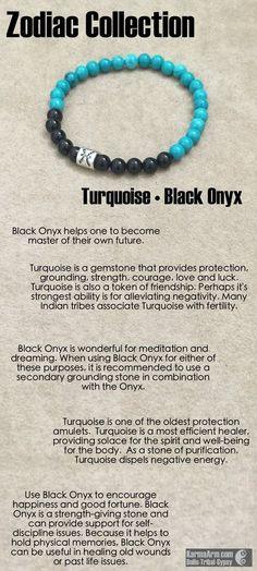 gemstone mala yoga bracelet - Zodiac Collection: Black Onyx • Turquoise Yoga Mala Bead Bracelet
