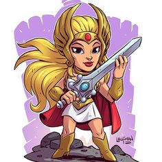 Chibi She-Ra! Prints of the Princess of Power now available at www.dereklaufman.com (link in my profile) #shera #princessofpower #mastersoftheuniverse #heman