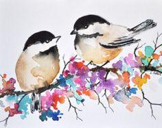 Pintura ORIGINAL de acuarela pájaro Chickadee ilustración de 6 x 8 pulgadas