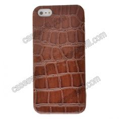Crocodile Pattern Faux Leather Coated Back Case Cover for iPhone 5 - Brown US$4.39