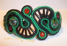 OOAK Soutache Jewelry  Bracelete With Czech Glass Beads via Etsy
