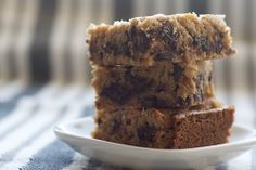 Salty Chocolate Chunk Blondies. Made with whole wheat flour. i'm going to pretend that means they are healthy and ignore the stick of butter and cup of brown sugar.