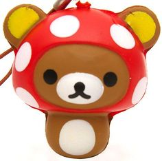 Rilakkuma bear mushroom squishy cellphone charm kawaii