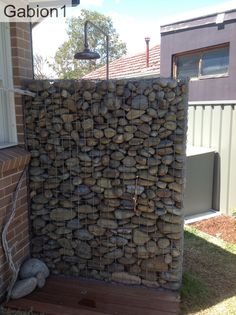 timber and gabion fence in Portland Oregon using 2 rows