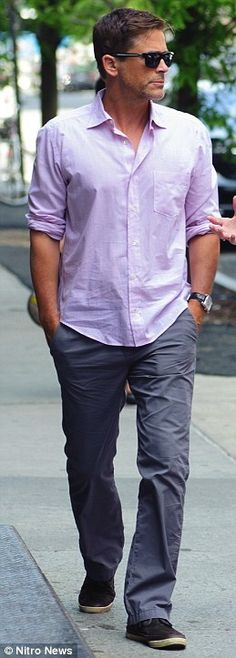 Lavender Linen Shirt on a man. Man Crush. Man Style. Rob Lowe