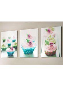 Cupcake Wall Art colleen karis designs pink cupcake trio canvas wall art | pink