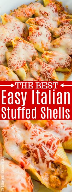 These Italian Stuffed Shells are the best! My all time favorite stuffed shells creamy, cheesy, delicious! #groundbeef #pasta #stuffed-shells
