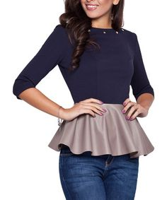 Blue faux leather detail peplum top Sale - Katrus Sale
