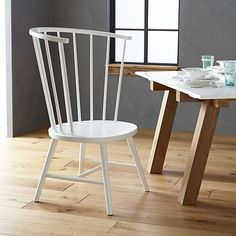 LOVE this Riviera White Tall Windsor Side Chair for the Living Room. $159 on Clearance.  In stock.