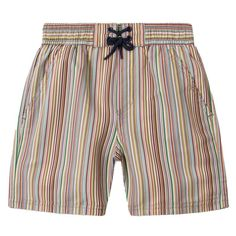 Printed with the designers signature stripe design, these baby boys swim shorts are perfect for beach and pool days. Made in a quick drying, soft feeling material with a mesh lining for comfort. The elasticated waistband with a draw string make for a comfortable fit. The shorts arrive in a waterproof travel pouch making for storing over the winter or taking on vacation.  3 pockets 100% polyester (soft, brushed feel) Lining: 100% polyester (soft mesh feel) Machine wash Prolonged exposure to…