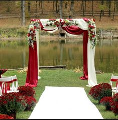Red And White Wedding Decorations, White Wedding Arch, Metal Wedding Arch, Red And White Weddings, Wedding Stage, Wedding Ceremony, Dream Wedding, Wedding Backdrops, Bohemian Backdrop