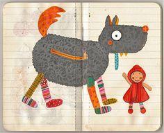 La ilustradora se inspiró en los muñecos Ebulobo para hacer esta caperucita con un lobo que tiene cierre para ver su panza. Naif!