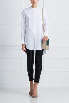 Хлопковая рубашка Bruuns Bazaar - Удлиненная хлопковая рубашка с боковыми прорезями отлично подойдет для создания повседневного образа в интернет-магазине модной дизайнерской и брендовой одежды