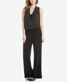 Karen Kane Metallic-Knit Jumpsuit - Black XL