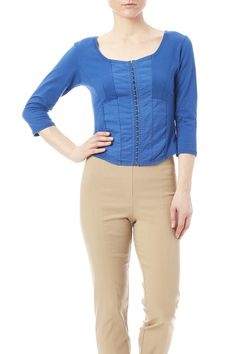 Electric blue 3/4 sleeve top with a scoop neckline andhook and eye front closure.  3/4 Sleeve Top by Luna Luz. Clothing - Tops - Blouses & Shirts Clothing - Tops - Long Sleeve California