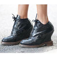 Fashion week street style Milan S/S 2013; saddle shoe as a wedge...GENIUS!