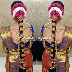 Order Fresh flower poolajada, bridal accessories from our local branches present over SouthIndia, Mumbai, Delhi, Singapore and USA. Dress Neck Designs, Blouse Designs, Indian Bridal Hairstyles, Wedding Hairstyles, Indian Flowers, Diy Wedding Hair, Telugu Wedding, Bridal Hairdo, Hindu Bride