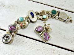 Vintage Slider Charm Bracelet Earrings Set by RedGarnetVintage
