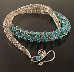 Viking Knit Necklace, Woven Argentium Sterling Silver Wire with Nacozari Turquoise Nuggets. $185.00, via Etsy.