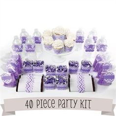 Cozy Purple Baby Shower Themes Froobi. Chevron Purple   Do It Yourself 40  Piece Party Kit