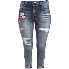 Dollhouse Blizzard Blue Distressed Crop Jeans ($30) ❤ liked on Polyvore featuring jeans, plus size, distressed jeans, cropped jeans, ripped skinny jeans, skinny jeans and women's plus size jeans