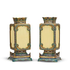 143⁄4 in. (37.5 cm.) high, mounted as lamps, stands Clay Pots, Fashion Branding, Chinese Art, Online Art, Flower Pots, Lanterns, Enamel, Bronze, Pairs