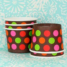 6 Orange Red Pink and Green Ice Cream Cups with Spoons by HeyYoYo, $4.95