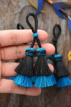 Black and Turquoise Duo Double Stack Horse Hair Tassel, 3 3/4 x 1pc, Handmade Horse Hair Tassel / Bohemian, Cowgirl, Accessories  If you know me, you