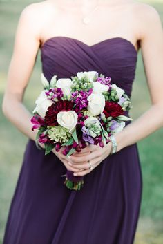 Deep Purple Bridesmaids with White & Purple Bouquets. See more on #smp here: http://www.StyleMePretty.com/tri-state-weddings/2014/04/17/new-jersey-barn-wedding-full-of-elegance/ Photography: Michelle Lange - www.LoveAndBeMarried.com