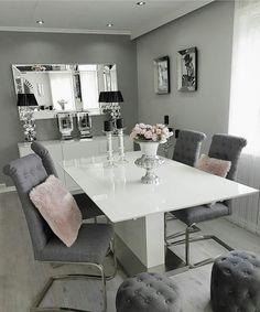 Dining Room Table Decor, Living Room Decor Cozy, Elegant Dining Room, Living Room Grey, Dining Room Design, Home Living Room, Room Interior, Interior Design Living Room, Dinner Room